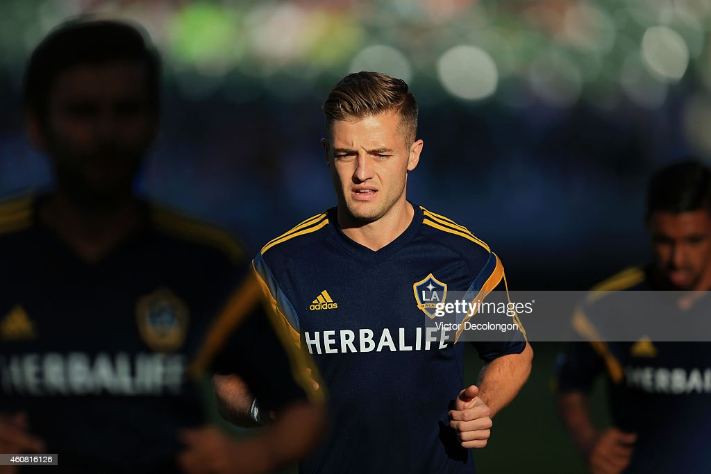Robbie Rogers #14 of Los Angeles Galaxy warms up prior to their MLS match against Seattle Sounders FC at StubHub Center on October 19, 2014 in Los Angeles, California. The Sounders and Galaxy played to a 2-2 draw.