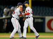 Robbie Ross Jr #28 and Mookie Betts of the Boston Red Sox celebrate the win over the New York Yankees on September 30 2015 at Yankee Stadium in the...