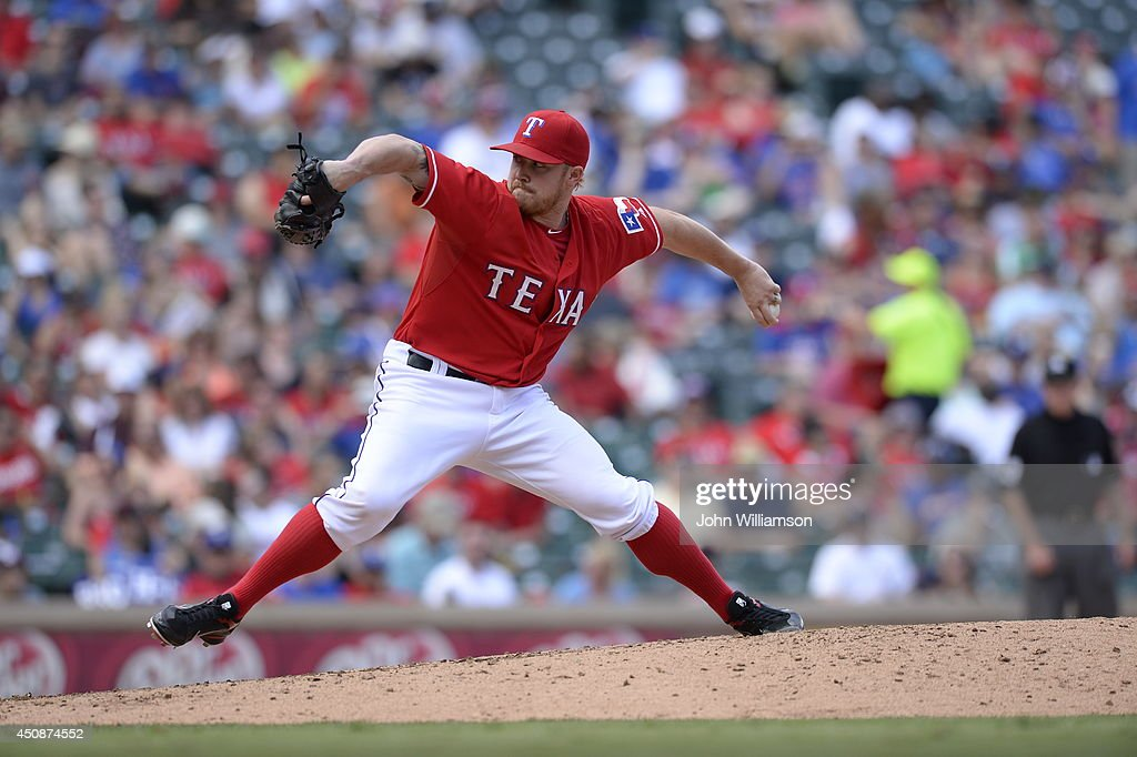 Robbie Ross #46 of the Texas Rangers pitches against the Cleveland Indians at Globe Life Park in Arlington on June 7, 2014 in Arlington, Texas. The Cleveland Indians defeated the Texas Rangers 8-3.