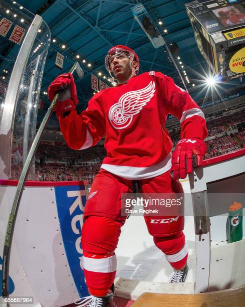 Robbie Russo of the Detroit Red Wings leaves the ice after warm ups before an NHL game against the Colorado Avalanche at Joe Louis Arena on March 18...
