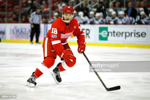 Robbie Russo of the Detroit Red Wings skates against the Minnesota Wild at Joe Louis Arena on March 26 2017 in Detroit Michigan