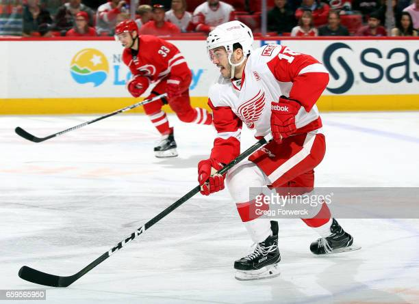 Robbie Russo of the Detroit Red Wings skates through the neutral zone during an NHL game against the Carolina Hurricanes on March 28 2017 at PNC...