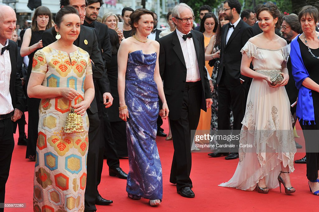 Robbie Ryan, guest, Barry Ward, Rebecca O'Brien, Paul Laverty, director Ken Loach, Simone Kirby and Aisling Franciosi and guest attend the 'Jimmy's Hall' premiere during the 67th Cannes Film Festival