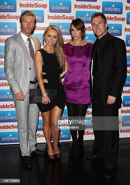 Robbie Savage and Ola Jordan from Strictly Come Dancing and TV presenters Alex Jones and Matt Baker from the BBC The One Show attend the Inside Soap...