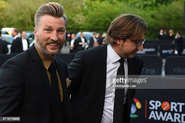 Robbie Savage arrives at the BT Sport Industry Awards 2015 at Battersea Evolution on April 30 2015 in London England The BT Sport Industry Awards is...