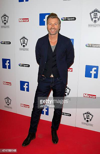 Robbie Savage arrives at the inaugural Facebook Football Awards on May 26 2015 in London England