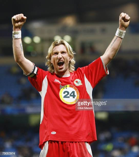 Robbie Savage of Blackburn Rovers celebrates his team's third goal during the Barclays Premiership match between Manchester City and Blackburn Rovers...