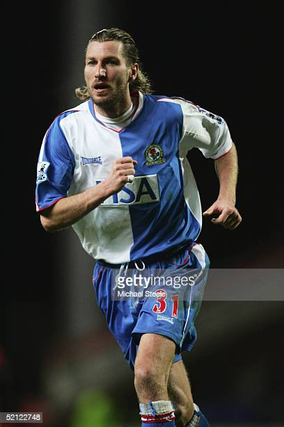 Robbie Savage of Blackburn Rovers in action during the Barclays Premiership match between Blackburn Rovers and Bolton Wanderers at Ewood Park on...
