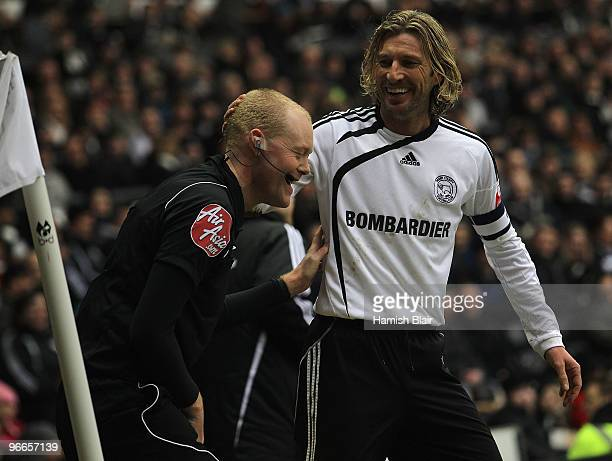 Robbie Savage of Derby apologises to the linesman after kicking the ball into him during the FA Cup sponsored by EON 5th Round match between Derby...