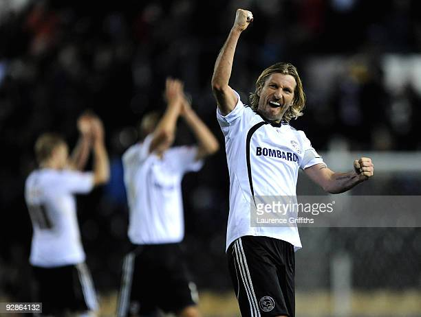 Robbie Savage of Derby celebrates victory during the CocaCola Championship match between Derby County and Coventry City at Pride Park on November 6...