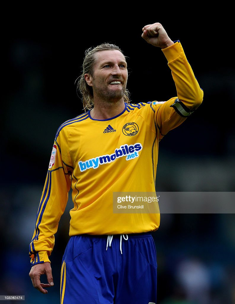 Robbie Savage of Derby County celebrates his teams victory after the npower Championship match between Leeds United and Derby County at Elland Road on August 7, 2010 in Leeds, England.