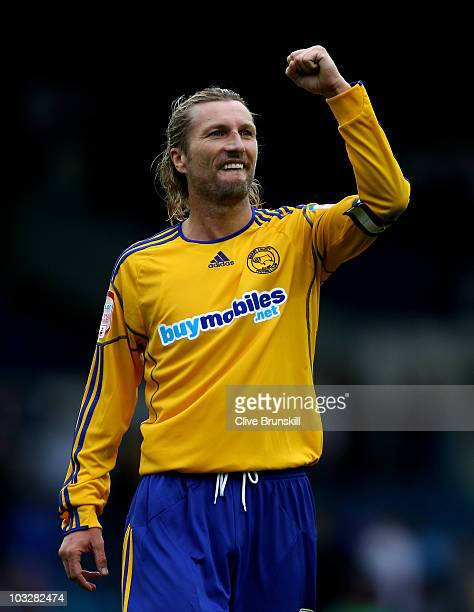 Robbie Savage of Derby County celebrates his teams victory after the npower Championship match between Leeds United and Derby County at Elland Road...