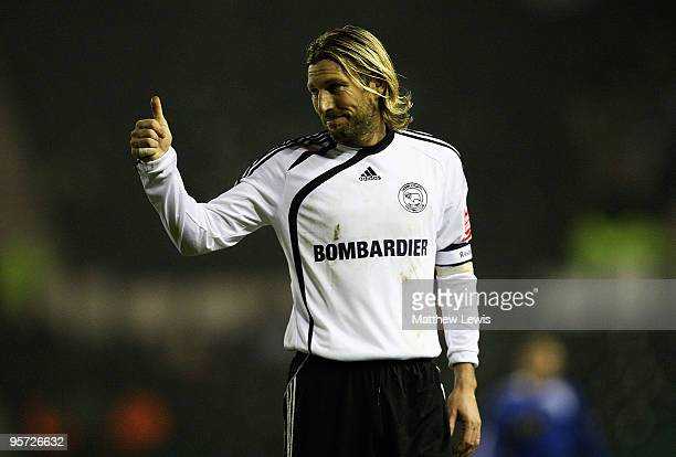 Robbie Savage of Derby gives a thumbs up during the FA Cup 3rd Round Replay match between Derby County and Millwall at Pride Park on January 12 2010...