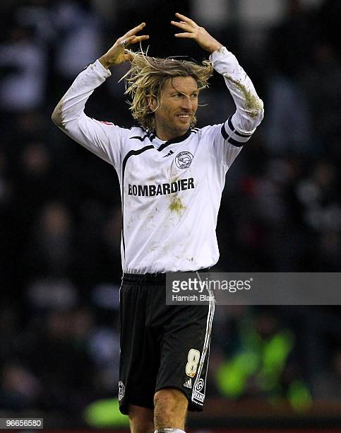 Robbie Savage of Derby reacts following a near miss in the dying stages of the match during the FA Cup sponsored by EON 5th Round match between Derby...