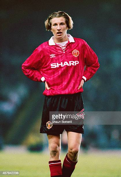 Robbie Savage of Manchester United looks on during a Youth game at Old Trafford on May 13 1993 in Manchester England