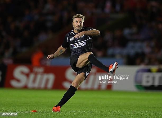 Robbie Savage of the Rest of the World kicks a conversion during the Rugby Aid 2015 celebrity rugby match between England and the Rest of the World...
