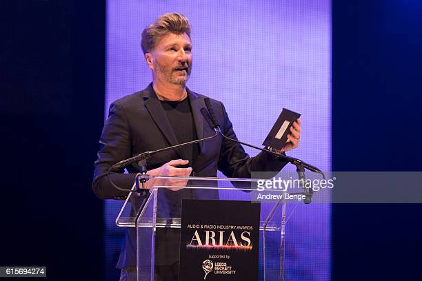 Robbie Savage presents the award for 'Speech Broadcaster of the Year' at the Audio Radio Industry Awards at First Direct Arena Leeds on October 19...