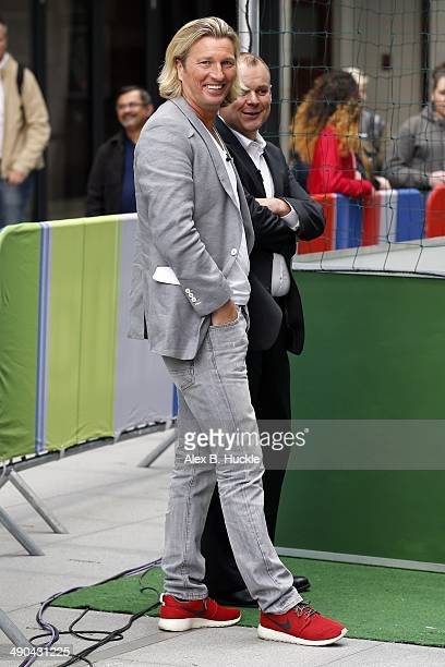 Robbie Savage sighted filming the 'One Show' at the BBC Studios Portland Place on May 14 2014 in London England