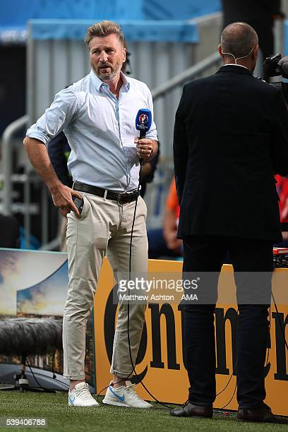 Robbie Savage works for the media prior to the UEFA EURO 2016 Group B match between Wales and Slovakia at Stade Matmut Atlantique on June 11 2016 in...