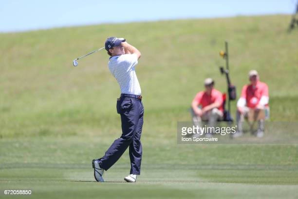 Robbie Shelton hits an approach during the 4th round of the Valero Texas Open at the TPC San Antonio Oaks Course in San Antonio TX on April 23 2017