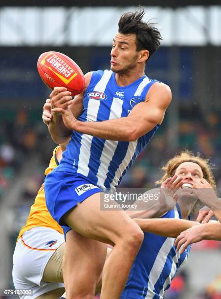Robbie Tarrant of the Kangaroos marks during the round seven AFL match between the North Melbourne Kangaroos and the Adelaide Crows at Blundstone...