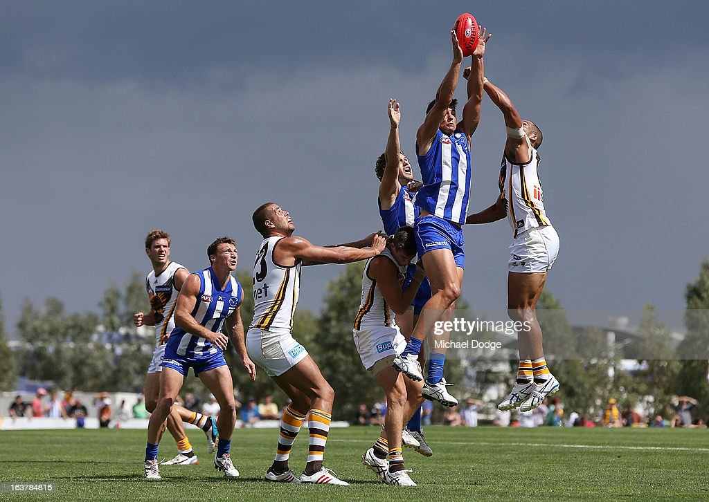Robbie Tarrant of the Kangaroos marks the ball during the AFL NAB Cup match between the North Melbourne Kangaroos and the Hawthorn Hawks at Highgate Recreational Reserve on March 16, 2013 in Craigieburn, Australia.