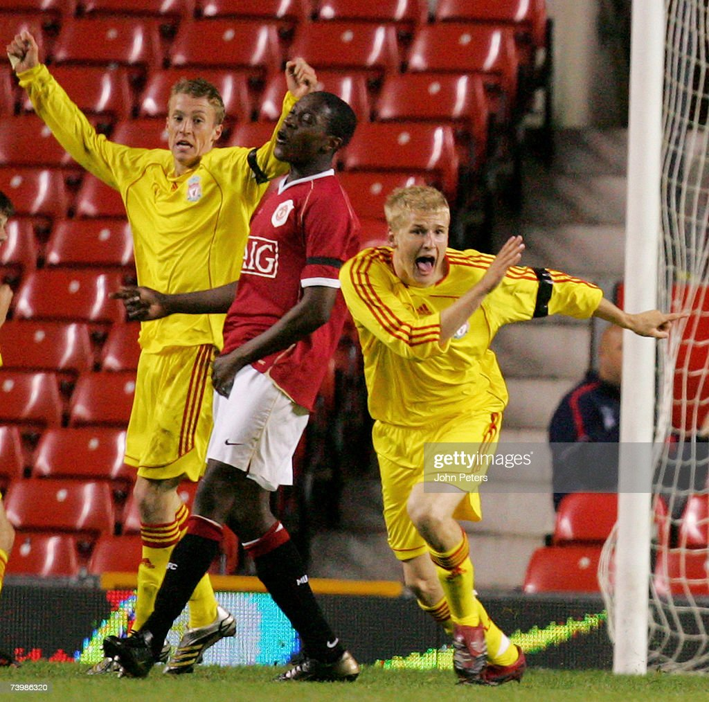Robbie Threlfall of Liverpool celebrates scoring their first goal during the FA Youth Cup Final second leg match between Manchester United Under18s...