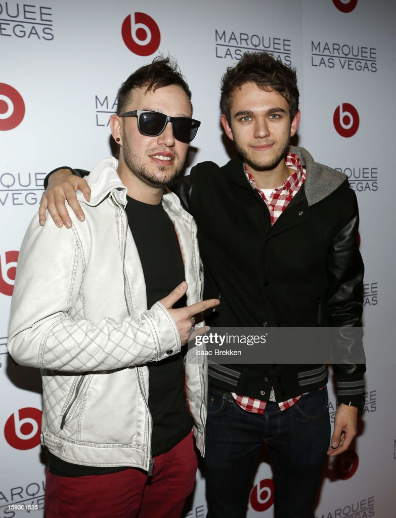 DJ Robbie Wilde (L) and DJ <a gi-track='captionPersonalityLinkClicked' href=/galleries/search?phrase=Zedd+-+Musician&family=editorial&specificpeople=5830568 ng-click='$event.stopPropagation()'>Zedd</a> arrive at the Beats by Dr. Dre CES after-party at the Marquee Nightclub at The Cosmopolitan of Las Vegas on January 10, 2013 in Las Vegas, Nevada.