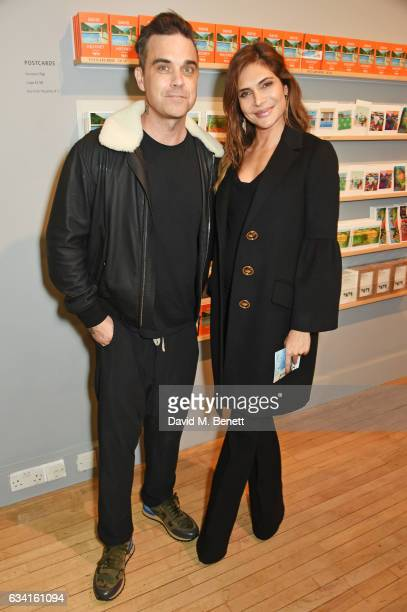 Robbie Williams and Ayda Field attend a private view of the David Hockney retrospective at the Tate Britain on February 7 2017 in London England