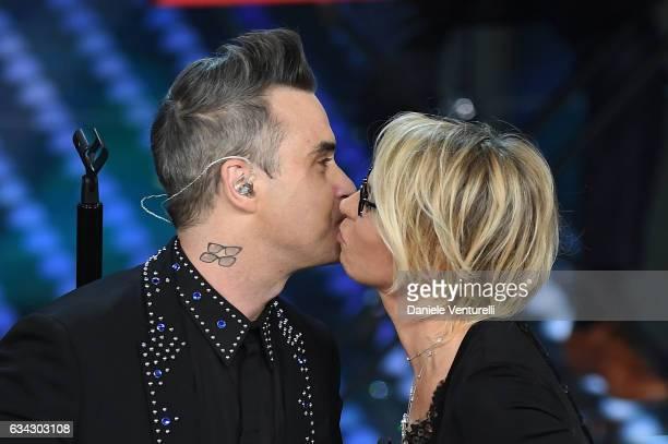 Robbie Williams and Maria De Filippi attend 67 Sanremo Festival at Teatro Ariston on February 8 2017 in Sanremo Italy
