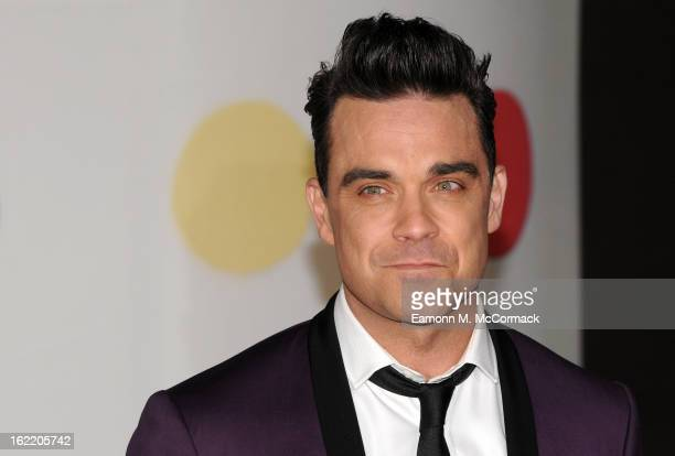 Robbie Williams attends the Brit Awards 2013 at the 02 Arena on February 20 2013 in London England