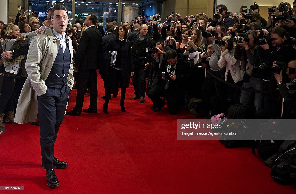 <a gi-track='captionPersonalityLinkClicked' href=/galleries/search?phrase=Robbie+Williams&family=editorial&specificpeople=201201 ng-click='$event.stopPropagation()'>Robbie Williams</a> attends the launch of his Fashion-Label 'Farrell' at KaDeWe on February 26, 2013 in Berlin, Germany.