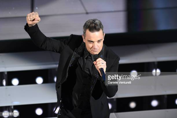 Robbie Williams attends the second night of the 67th Sanremo Festival 2017 at Teatro Ariston on February 8 2017 in Sanremo Italy