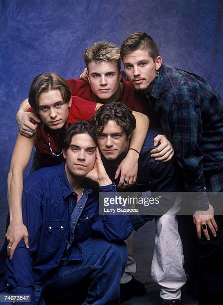 Robbie Williams Mark Owen Gary Barlow Jason Orange and Howard Donald of Take That at the Studio Session in New York City New York