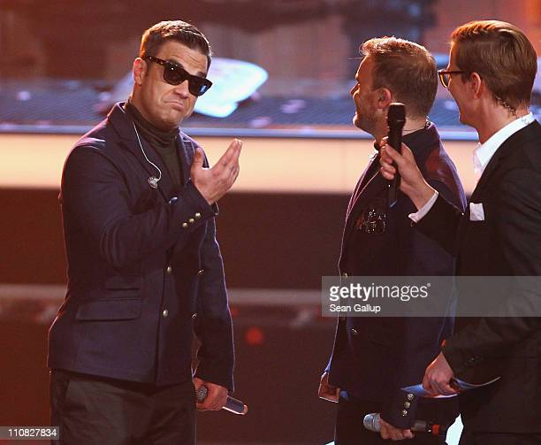 Robbie Williams of the UK band 'Take That' attends the Echo Awards 2011 at Palais am Funkturm on March 24 2011 in Berlin Germany