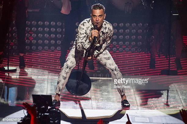 Robbie Williams performs at the Apple Music Festival at The Roundhouse on September 25 2016 in London England