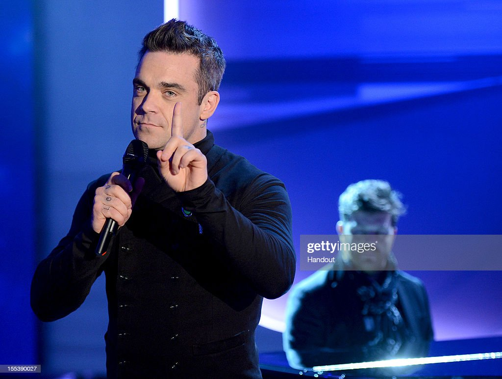 Robbie Williams performs during the 'Wetten dass' show on November 3 2012 in Bremen Germany