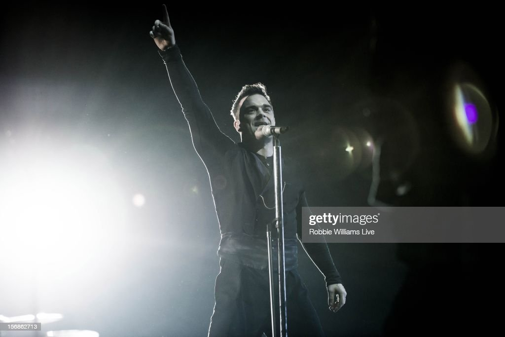 Robbie Williams performs on the first night of his tour at 02 Arena on November 22, 2012 in London, England.