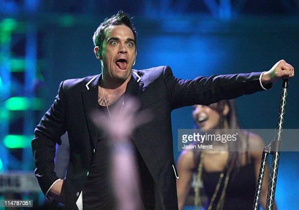 Robbie Williams performs 'Rudebox' and 'Rock DJ' during MTV Video Music Awards Latin America 2006 Show at Palacio de los Deportes in Mexico City...
