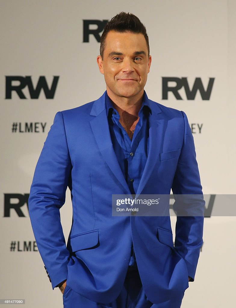Robbie Williams speaks to the media during a press conference at The Langham Hotel on October 6 2015 in Sydney Australia
