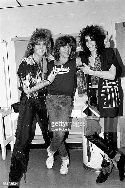 Robbin Crosby and Warren DeMartini of Ratt with Jeff Golub of the Billy Squier band in Saratoga Springs New York on September 9 1984