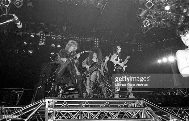 Robbin Crosby Juan Croucier Warren DeMartini and Stephen Pearcy of the rock band 'Ratt' perform onstage in 1991 in Los Angeles California