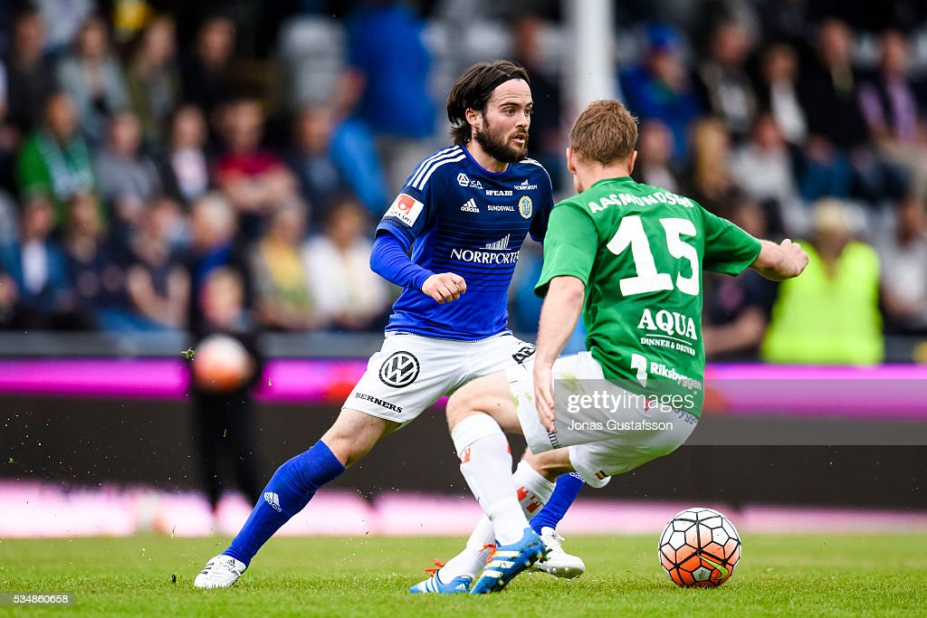 Robbin Sellin of GIF Sundsvall competes for the ball during the allsvenskan match between Jonkopings Sodra IF and GIF Sundsvall at Stadsparksvallen on May 28, 2016 in Jonkoping, Sweden.