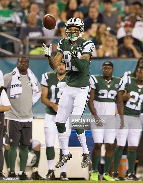 Robby Anderson of the New York Jets catches a pass in the second quarter against the Philadelphia Eagles at Lincoln Financial Field on September 1...