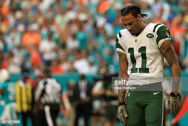 Robby Anderson of the New York Jets looks on during a game against the Miami Dolphins at Hard Rock Stadium on November 6 2016 in Miami Gardens Florida
