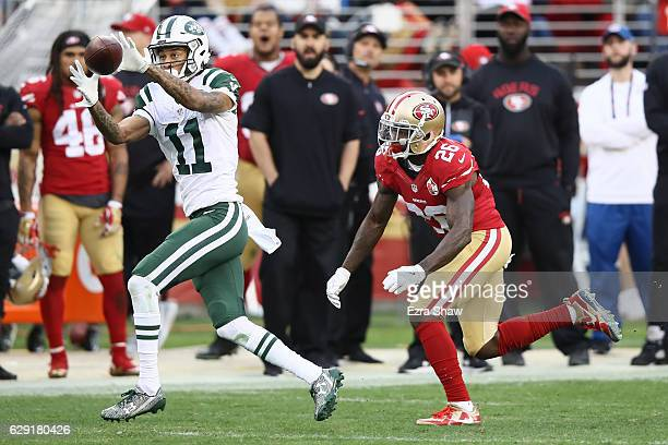 Robby Anderson of the New York Jets makes a catch against the San Francisco 49ers during their NFL game at Levi's Stadium on December 11 2016 in...