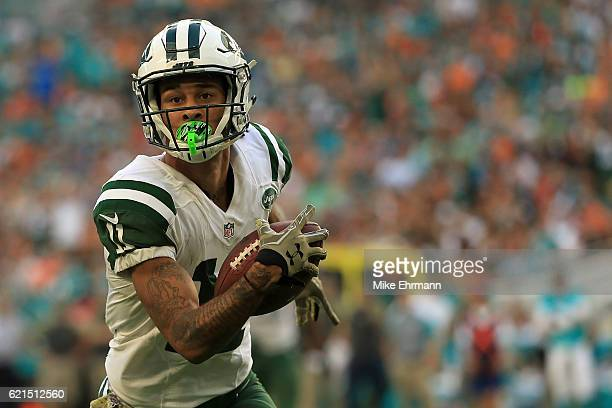 Robby Anderson of the New York Jets makes a catch during a game against the Miami Dolphins at Hard Rock Stadium on November 6 2016 in Miami Gardens...