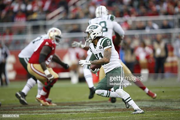 Robby Anderson of the New York Jets runs a reverse during the game against the San Francisco 49ers at Levi Stadium on December 11 2016 in Santa Clara...