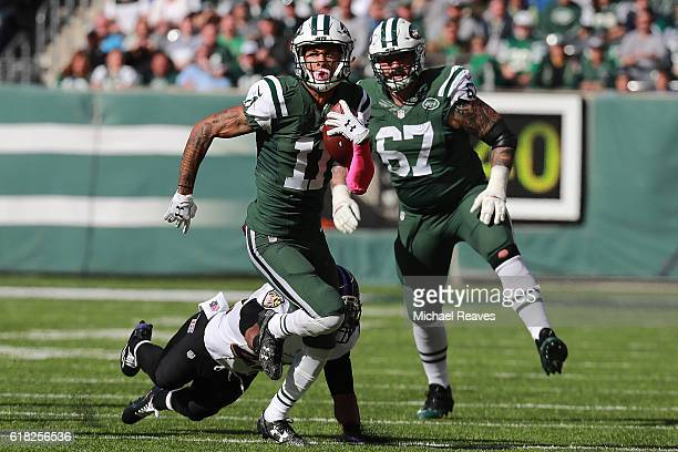 Robby Anderson of the New York Jets runs downfield on a reverse play against the Baltimore Ravens at MetLife Stadium on October 23 2016 in East...