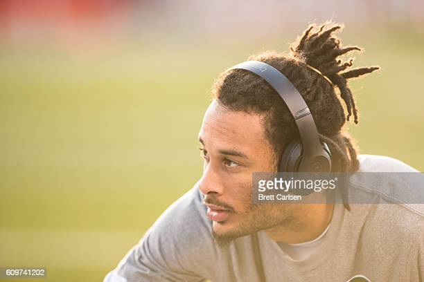 Robby Anderson of the New York Jets warms up before the game against the Buffalo Bills on September 15 2016 at New Era Field in Orchard Park New York...